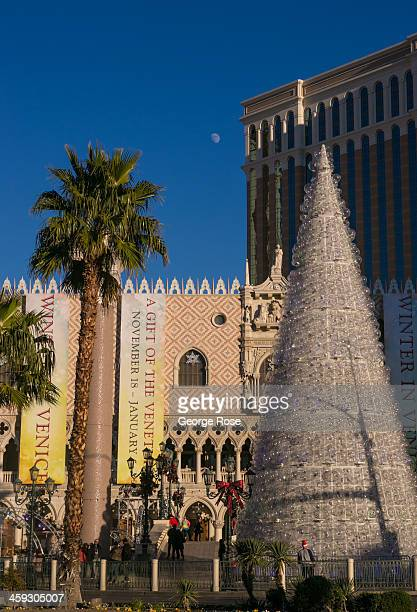 The exterior of the Venetian Hotel Casino and its famous plastic bubble Christmas tree is viewed from The Strip on December 14 2013 in Las Vegas...