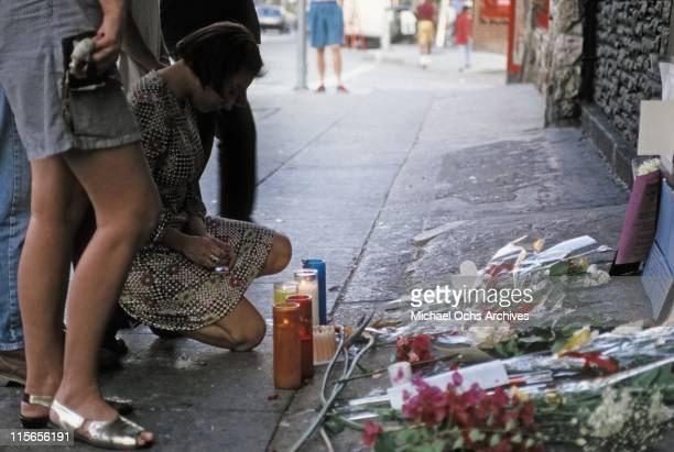 The exterior of The Viper Room the day after the death of actor River Phoenix Fans are placing flowers candles and notes at the spot where he...