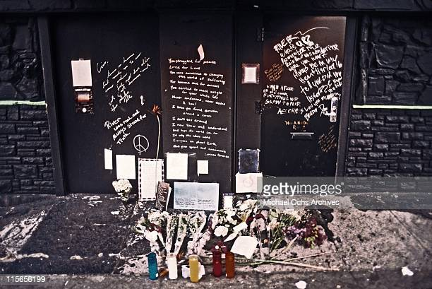 The exterior of The Viper Room the day after the death of actor River Phoenix Fans have left flowers candles and notes at the spot where he collapsed...