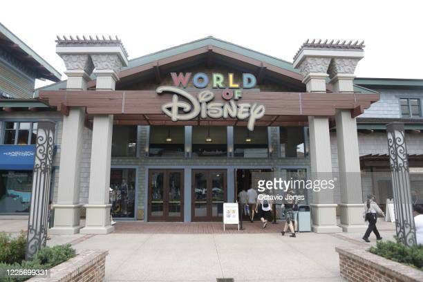 The exterior of the World of Disney store located in Disney Springs at Walt Disney World on July 8, 2020 in Lake Buena Vista, Florida. The theme park...