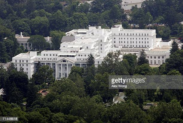 The exterior view of Greenbrier Resort is seen from the top of a nearby mountain July 14 2006 in White Sulphur Springs West Virginia The bunker...