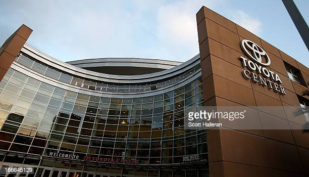 The exterior view of the arena is seen during the game between the Houston Rockets and the Sacramento Kings at the Toyota Center on April 14, 2013 in...