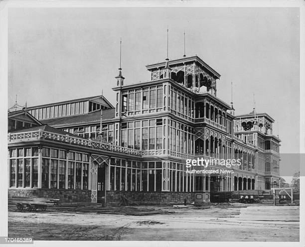 The exterior view of the Centennial Photogenic Co Machinery Hall Philadelphia Centennial Exposition Pennsylvania USA 1876