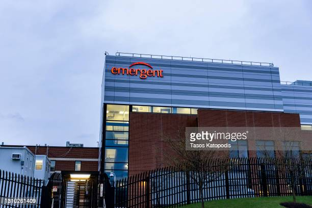 The exterior view of the Emergent BioSolutions plant on April 01, 2021 in Baltimore, Maryland. At this Baltimore Lab, 15 Million Doses Of Johnson &...