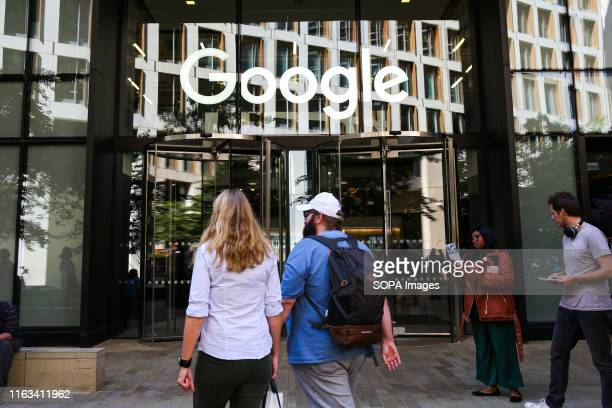 The exterior view of the entrance to the global internet search company Google office in London