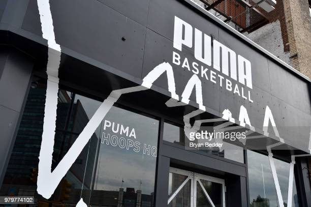 The exterior view of the PUMA store at the first look of PUMA basketball shoe, Clyde Court Disrupt on June 20, 2018 in Brooklyn.