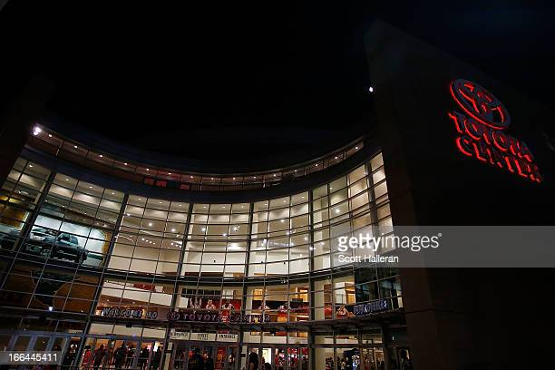 The exterior view of the Toyota Center is shown during the game between the Houston Rockets and the Memphis Grizzlies at the Toyota Center on April...