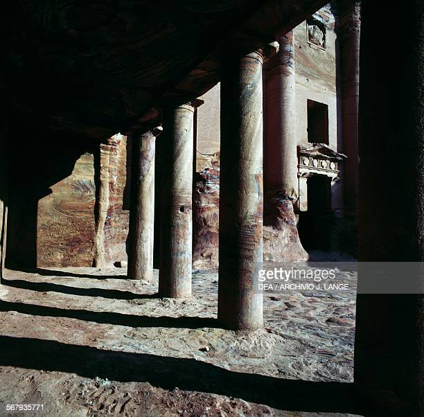 The external porch and entrance to the Urn tomb 1st century AD Royal tombs ancient city of Petra Jordan Nabataean civilisation 6th century BC2nd...