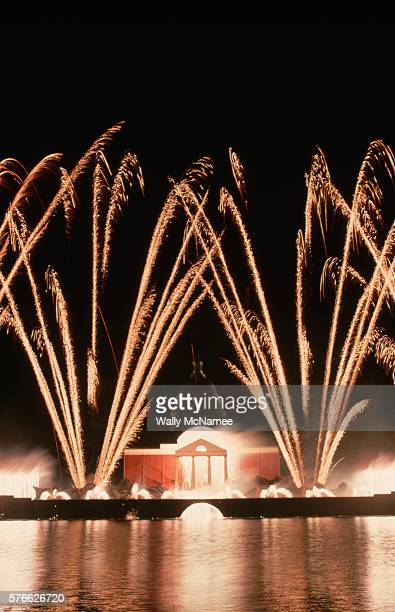 """The """"Eye on Jefferson"""" fireworks display is held by the Capitol Reflecting Pool to celebrate the American bicentennial. Visible is a replica of..."""