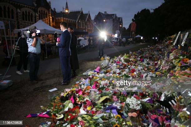 The eyes of the world on Christchurch as a TVNZ news team reports live before dawn from the Botanic Gardens on March 18 2019 in Christchurch New...