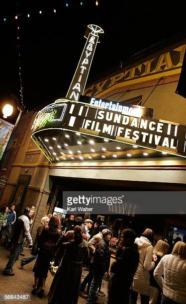 The Eygptian Theatre is seen at night during the 2006 Sundance Film Festival on Main Street January 21 2006 in Park City Utah