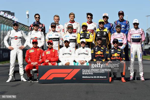 The F1 Class of 2018 Drivers photo before the Australian Formula One Grand Prix at Albert Park on March 25 2018 in Melbourne Australia