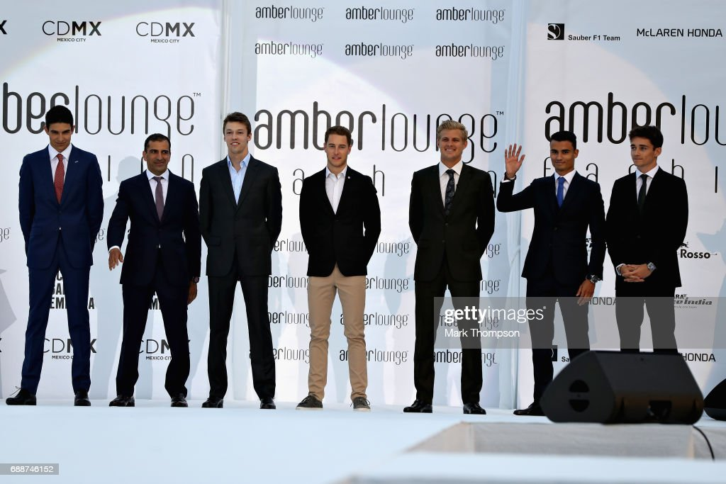 The F1 driver lineup of Esteban Ocon of France and Force India, Marc Gene, Daniil Kvyat of Russia and Scuderia Toro Rosso, Stoffel Vandoorne of Belgium and McLaren Honda, Marcus Ericsson of Sweden and Sauber F1, Pascal Wehrlein of Germany and Sauber F1 and Charles Leclerc at the Amber Lounge fashion show during previews to the Monaco Formula One Grand Prix at Circuit de Monaco on May 26, 2017 in Monte-Carlo, Monaco.