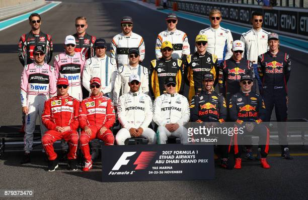 The F1 Drivers Class of 2017 photo before the Abu Dhabi Formula One Grand Prix at Yas Marina Circuit on November 26 2017 in Abu Dhabi United Arab...
