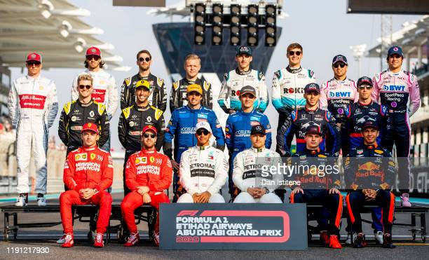 The F1 Drivers Class of 2019 photo is taken on track before the F1 Grand Prix of Abu Dhabi at Yas Marina Circuit on December 01 2019 in Abu Dhabi...