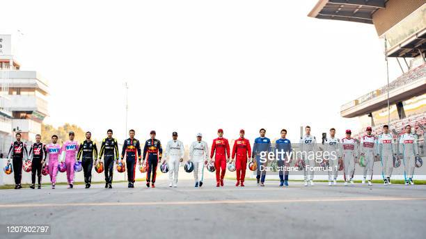 The F1 drivers for the 2020 season walk down the track during day one of Formula 1 Winter Testing at Circuit de BarcelonaCatalunya on February 19...