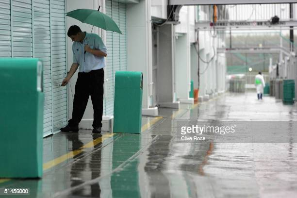The F1 paddock is empty due to the approaching typhoon that caused all of todays practice to be cancelled for the Formula One Japanese Grand Prix at...