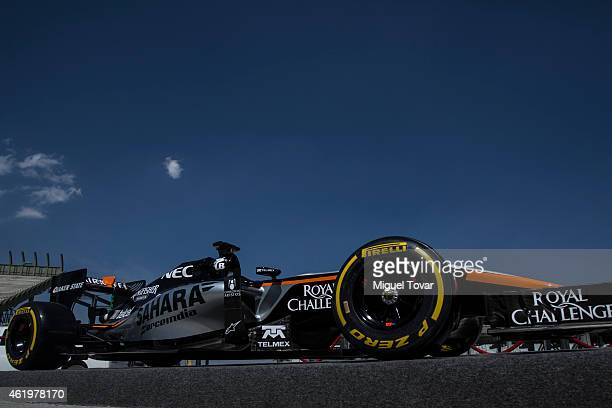 The F1Team Force's India new car is displayed at the Hermanos Rodriguez Racing Circuit Facilities on January 22, 2015 in Mexico City, Mexico. The...