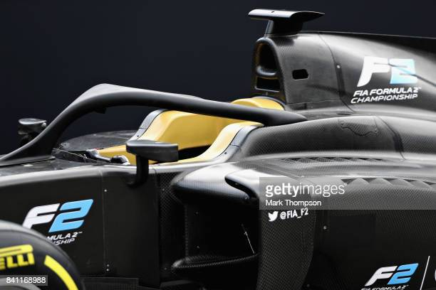 The F2 car for 2018 with the halo is unveiled in the Paddock during previews for the Formula One Grand Prix of Italy at Autodromo di Monza on August...