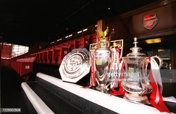 The FA Community Shield The Premier League trophy and the FA Cup Trophy at Arsenal Stadium Highbury on September 11 2002 in London England