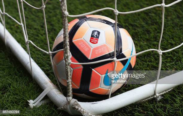 The FA Cup ball is seen prior to The Emirates FA Cup QuarterFinal match between Tottenham Hotspur and Millwall at White Hart Lane on March 12 2017 in...