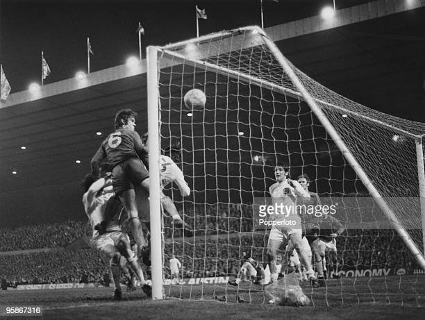 The FA Cup Final replay between Chelsea and Leeds United at Old Trafford, 29th April 1970. Chelsea won 2-1. Chelsea's David Webb scores the winning...