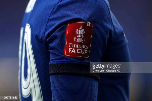The FA Cup logo on the shirt of Mason Mount shows the amount of times Chelsea have won the cup during the FA Cup Third Round match between Chelsea...