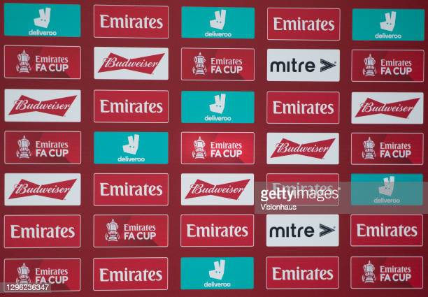 The FA Cup official logo with sponsors Emirates, Mitre, Deliveroo and Budweiser on an interview board after the FA Cup Third Round match between...