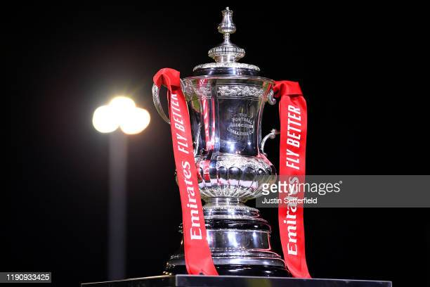 The FA Cup trophy is seen ahead the FA Cup Second Round match between Maldon and Tiptree FC abd Newport County AFC at The Wallace Binder Ground on...