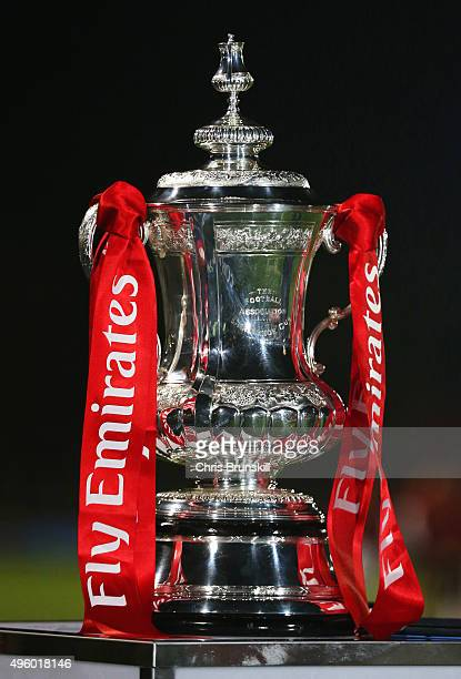 The FA Cup trophy on display prior to the Emirates FA Cup first round match between Salford City and Notts County at Moor Lane on November 6 2015 in...