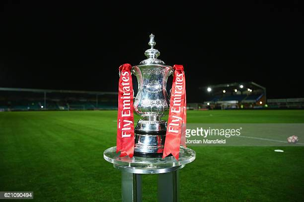 The FA Cup trophy on display prior to The Emirates FA Cup first round match between Eastleigh FC and Swindon Town at Silverlake Stadium on November 4...