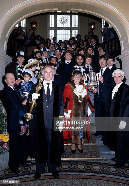 The FA Cup winning Tottenham Hotspur team and officials posing for a photograph with Councillors at Tottenham Town Hall during the Civic Reception...