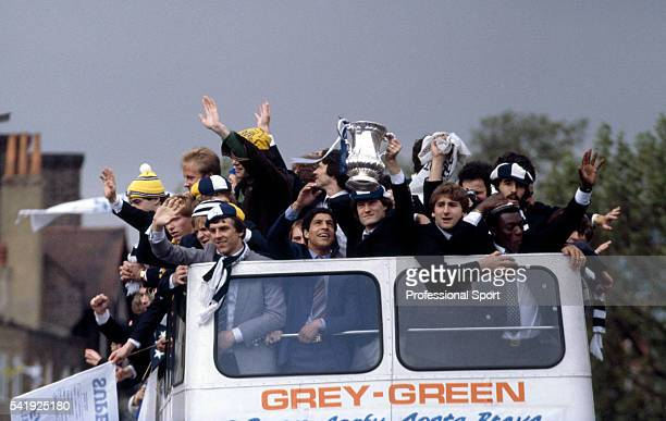 The FA Cup winning Tottenham Hotspur team celebrating with their supporters during an open top bus tour of Tottenham enroute to a civic reception...