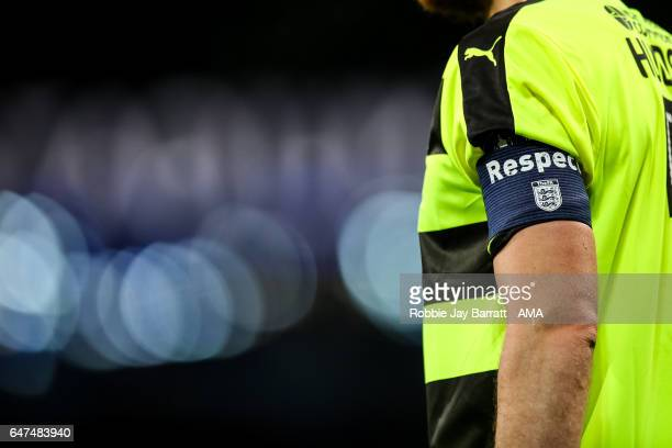 The FA respect captains armband during The Emirates FA Cup Fifth Round Replay between Manchester City and Huddersfield Town at the Etihad Stadium on...