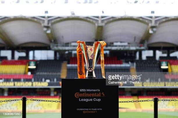The FA Women's Continental Tyres League Cup trophy is pictured on a plinth prior to the FA Women's Continental Tyres League Cup Final match between...