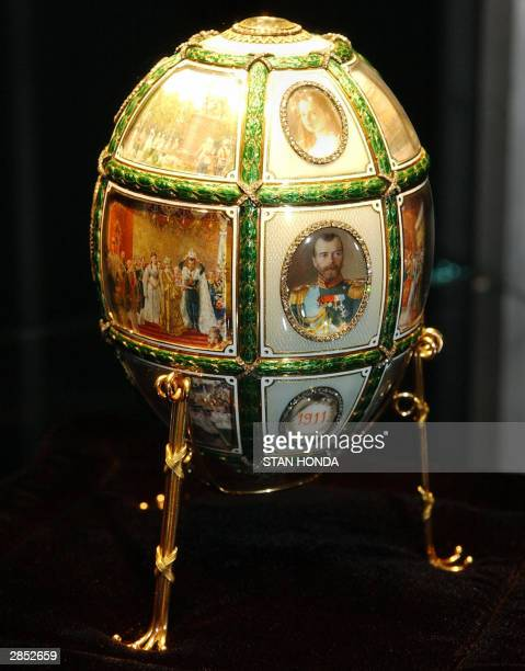 The Faberge Fifteenth Anniversary Egg part of Imperial Treasures Faberge from the Forbes Collection is shown on display 08 January at Sotheby's...