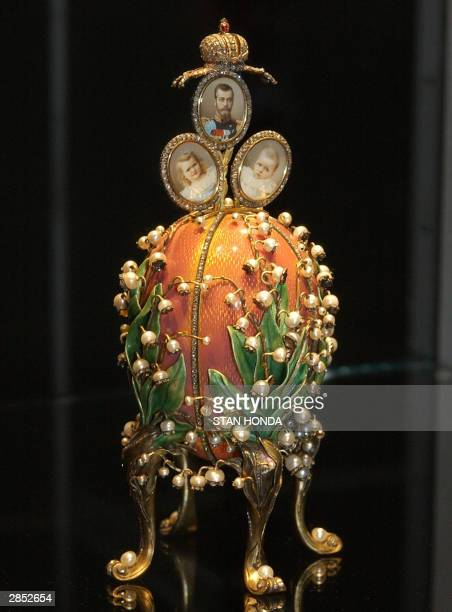 The Faberge Lillies of the Valley Egg part of Imperial Treasures Faberge from the Forbes Collection on display 08 January at Sotheby's auction house...