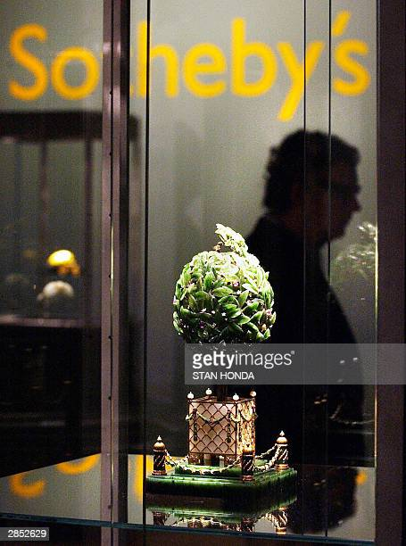 """The Faberge Orange Tree Egg, part of """"Imperial Treasures: Faberge from the Forbes Collection"""", is shown on display 08 January at Sotheby's auction..."""
