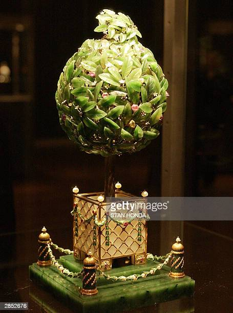 The Faberge Orange Tree Egg part of 'Imperial Treasures Faberge from the Forbes Collection' on display 08 January at Sotheby's auction house in New...
