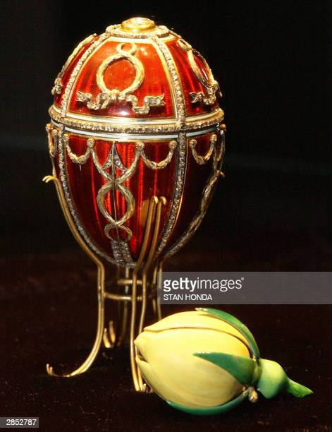 The Faberge Rosebud Egg part of Imperial Treasures Faberge from the Forbes Collection on display 08 January at Sotheby's auction house in New York...