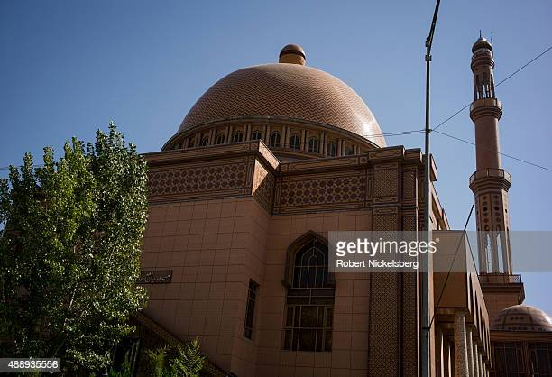 The facade and minaret of the Abdul Rahman mosque is seen August 29 2015 in Pashtunistan Square in Kabul Afghanistan