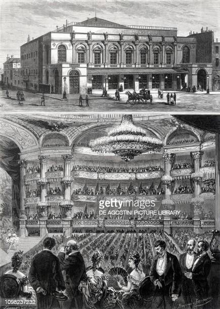 The facade and the interior of the Opera Peletier in Paris before the fire of 1873 engraving France 19th century