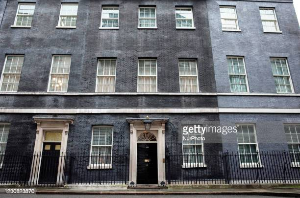 The facade of 10 Downing Street in London, England, on January 27, 2021.