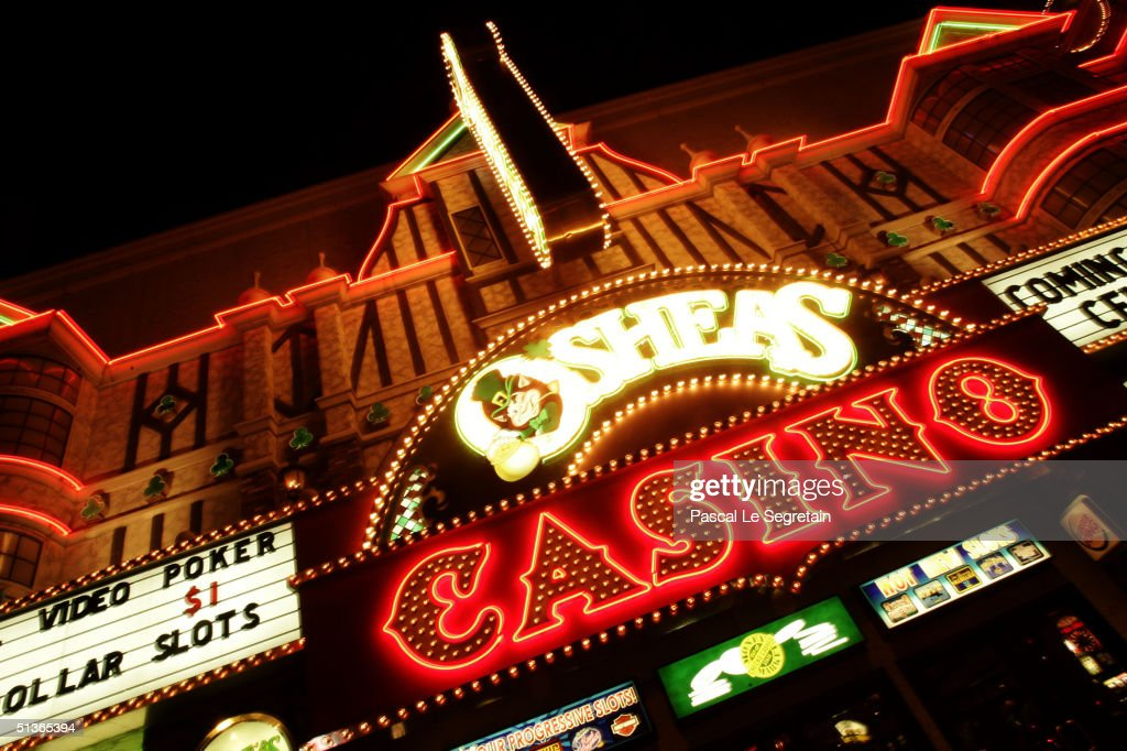 The facade of a Casino is seen at night on Las Vegas Boulevard on September 17 in Las Vegas.