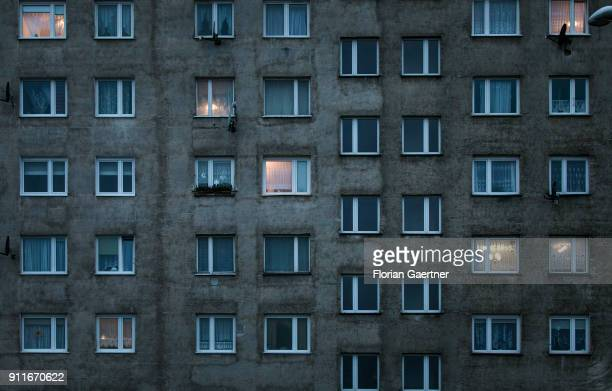 The facade of a plattenbau is pictured on January 26 2018 in Zgorzelec Poland