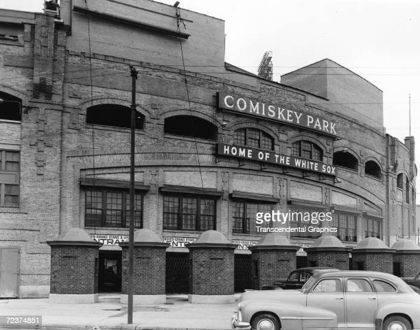 The facade of Comiskey Park on Chicago's south side as it appears in 1940