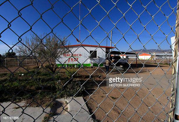 The facade of the Bachoco farm one of the 18 infected farms in Dolores Hidalgo Guanajuato State Mexico is seen on February 26 2013 The Mexican...