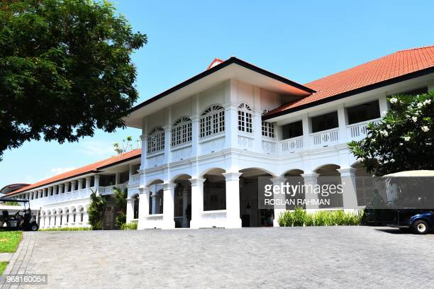 The facade of the Capella hotel in Sentosa island resorts in Singapore is pictured on June 6 2018 A highly anticipated meeting between US president...