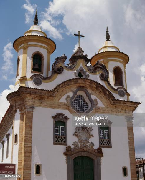 The facade of the Church of Our Lady of Carmel, decorated by Antonio Francisco Lisboa , Ouro Preto, Brazil, 18th century.
