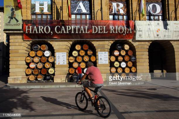The facade of the City Hall with its decoration of wine casks bearing the names of the local wineries advertises the city as the capital of the Rioja...